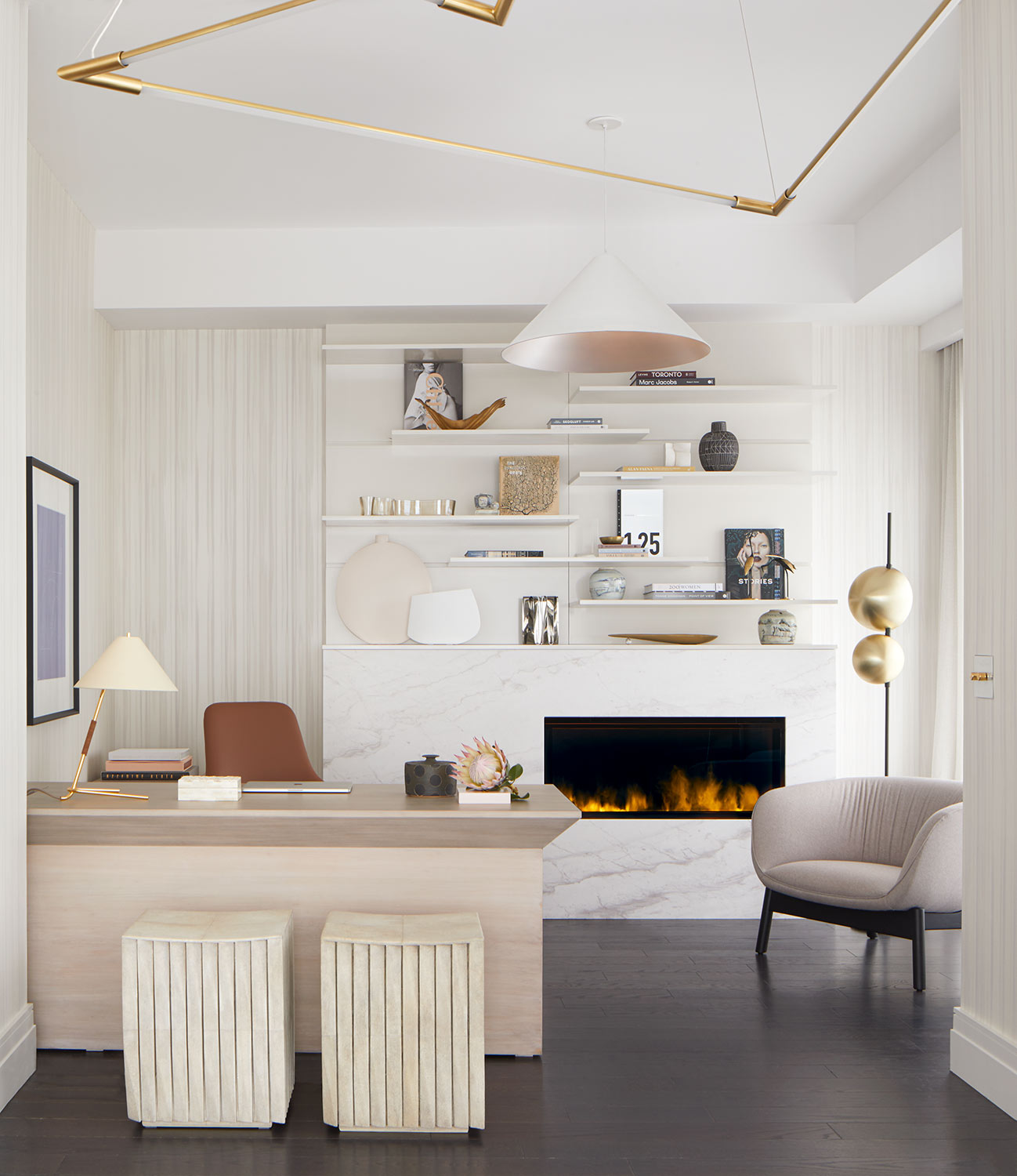 Bay street condo office with fireplace