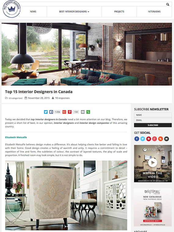 Elizabeth Metcalfe | Interior Design Firm News